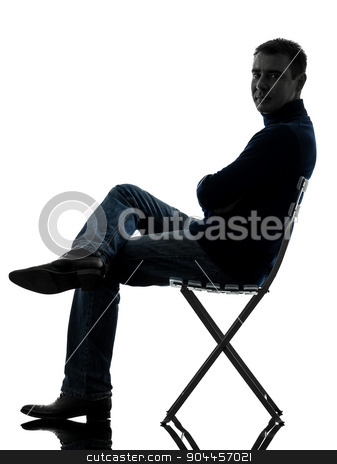man sitting smiling looking at camera silhouette full length stock photo, one  man smiling looking at camera full length in silhouette studio isolated on white background by Ishadow