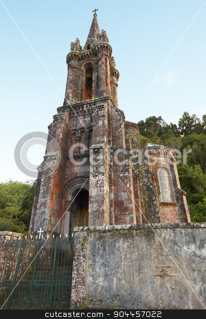 Neogothic chapel in Furnas lake. Sao Miguel. Portugal stock photo, Neogothic chapel in Furnas lake. Sao Miguel. Portugal. Vertical by ABBPhoto