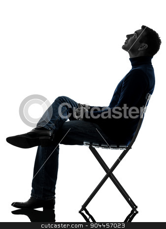 man sitting looking up  silhouette full length stock photo, one  man sitting looking up full length in silhouette studio isolated on white background by Ishadow