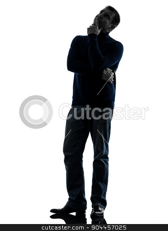 man doubtful thinking silhouette full length stock photo, one  man doubtful thinking full length in silhouette studio isolated on white background by Ishadow