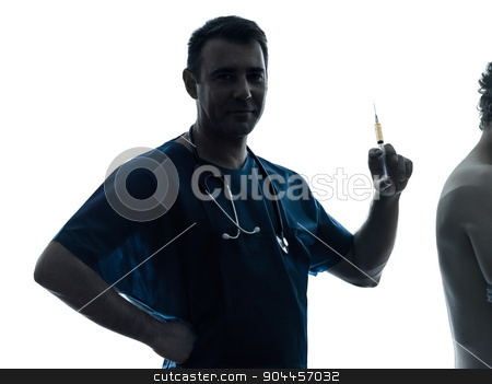 doctor man holding hypodermic syringe silhouette portrait stock photo, one  man doctor surgeon medical worker holding hypodermic syringe silhouette isolated on white background by Ishadow