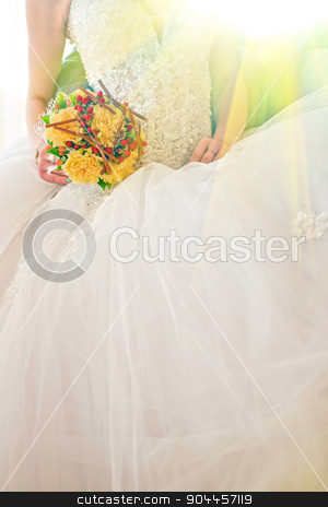 wedding stock photo, Beautiful wedding bouquet in hands of the bride by olinchuk