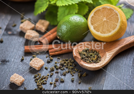 berries  tea stock photo, tea composition with cinnamon sticks, lemons by olinchuk