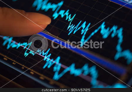 mobile finance stock photo, Finger and phone with finance statistic by olinchuk