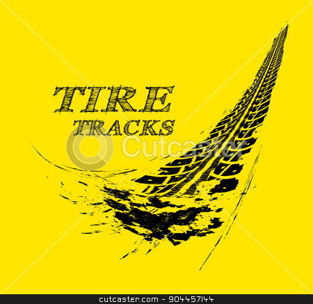 Tire tracks stock photo, Tire tracks. Vector illustration on yellow background by sermax55