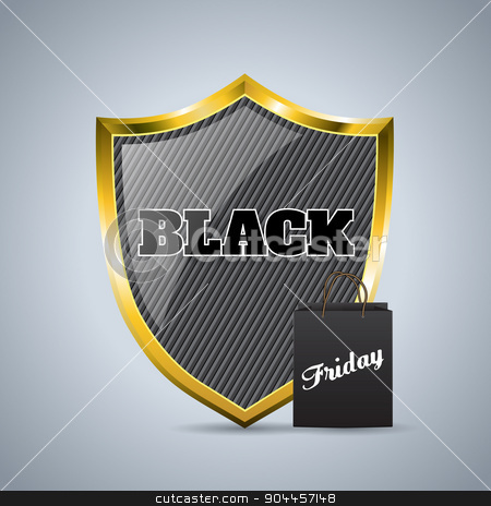 Black friday advertising background design with shield badge and stock vector clipart, Black friday advertising background design with black shield badge and shopping bag  by Mihaly Pal Fazakas