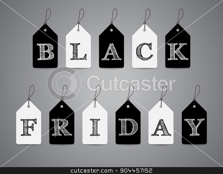 Black and white labels with Black Friday text stock vector clipart, Black and white label set with scribbled Black Friday text by Mihaly Pal Fazakas