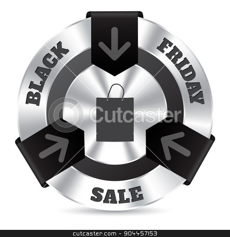 Black friday badge with shopping bag stock vector clipart, Black friday badge design with shopping bag and arrow ribbons by Mihaly Pal Fazakas