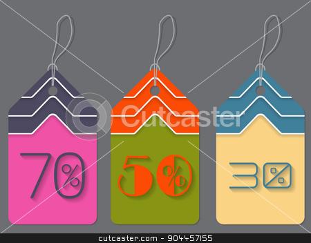 Colorful discount labels stock vector clipart, Colorful discount label set of three hanging  by Mihaly Pal Fazakas