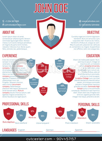 Modern resume cv template with shield shaped photo stock vector clipart, Modern curriculum vitae resume cv template design with shield shaped photo by Mihaly Pal Fazakas