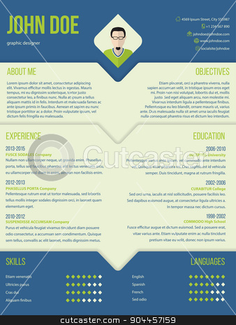 Modern curriculum cv resume template design stock vector clipart, Modern curriculum cv resume template design in blue and green color combo by Mihaly Pal Fazakas