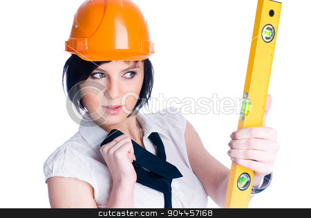 Girl with level stock photo, Young female worker with protection helmet and level at isolated background by Aikon