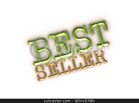 Three-dimensional inscription Best seller stock photo, Glossy gold three-dimensional inscription Best seller as a sign. by Anatolii Vasilev