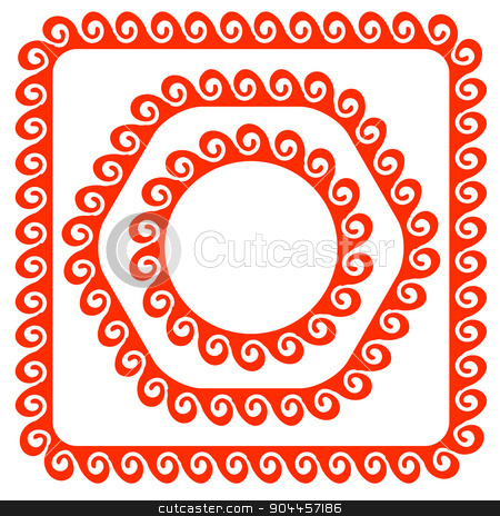Red Frames stock vector clipart, Set  of Different Red Frames Isolated on White Background by valeo5