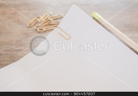 Simple office desk with necessary tool stock photo, Simple office desk with necessary tool, stock photo by nalinratphi