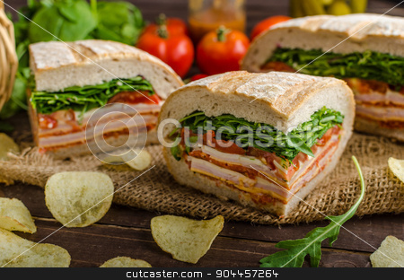 Italian Pressed Sandwich stock photo, Italian Pressed Sandwich - full of tasty. Italian ham and cheese, spinach, homemade chips side dish by Peteer
