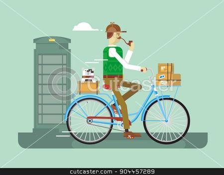 Retro postman on a bicycle stock vector clipart, Retro postman on a bicycle. Man delivery, service mail,  job postal, flat vector illustration by Dmitry Kalabin
