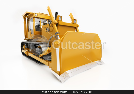 Heavy crawler bulldozer stock photo, Heavy crawler bulldozer isolated on a light background with shadow by Alex Varlakov