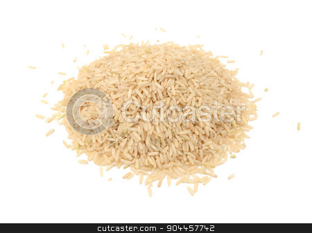 Long grain brown rice stock photo, Long grain brown rice, isolated on a white background by Sarah Marchant
