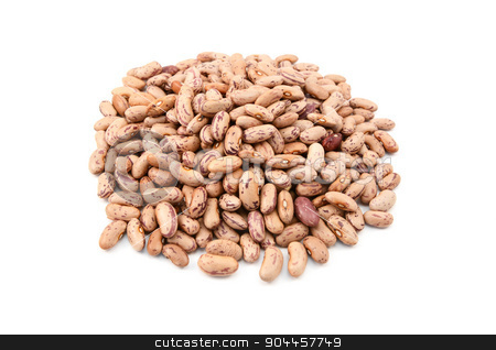 Borlotti beans stock photo, Borlotti beans also know as cranberry beans, roman or romano beans, isolated on a white background by Sarah Marchant