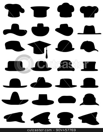 caps and hats stock vector clipart, Black silhouettes of various caps and hats, vector by Matovic Ratko