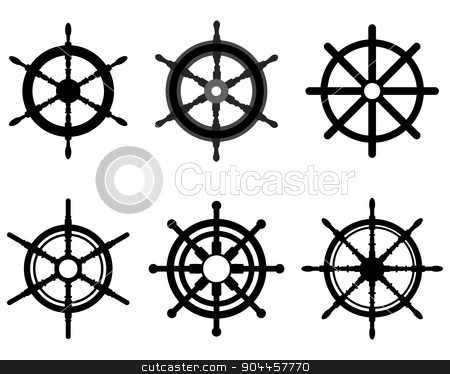 rudders stock vector clipart, Black silhouettes of different rudders, vector illustration by Matovic Ratko
