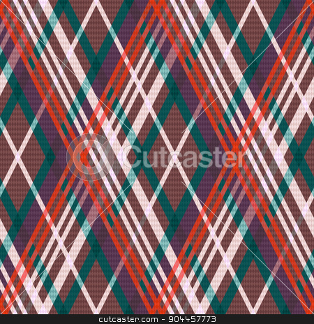 Multicolour rhombic seamless pattern stock vector clipart, Rhombic seamless vector pattern as a tartan plaid in red, green, beige and brown colors by Nataliia