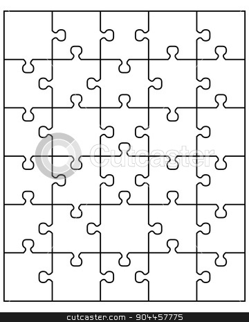 white puzzle stock vector clipart, Vector illustration of white puzzle, separate pieces by Matovic Ratko