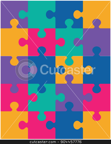 colorful puzzle stock vector clipart, Vector illustration of colorful puzzle, separate pieces by Matovic Ratko