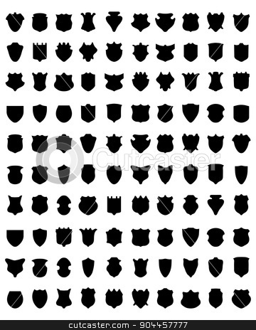 shields  stock vector clipart, Black silhouettes of shields on white a background, vector by Matovic Ratko