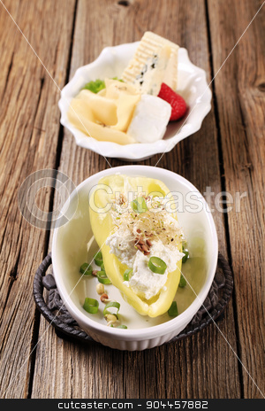 Vegetarian appetizer stock photo, Pepper with curd cheese and lentil sprouts by Digifoodstock