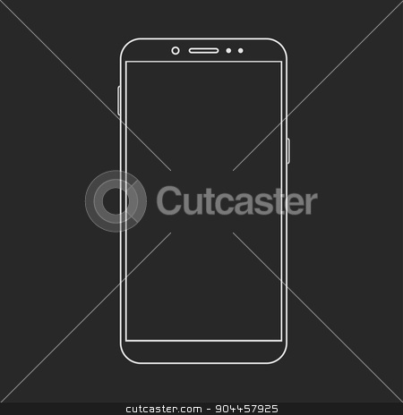 Vector modern  smartphone isolated on black stock vector clipart, Vector modern  smartphone isolated on black background by petr zaika