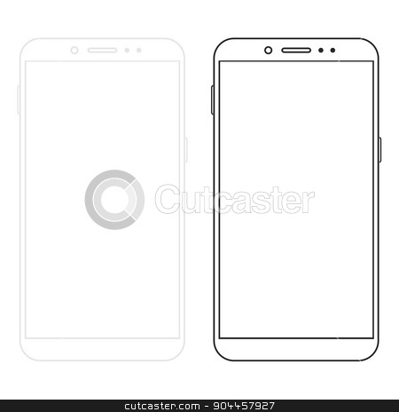 Vector modern  smartphone isolated on white stock vector clipart, Vector modern  smartphone isolated on white background by petr zaika