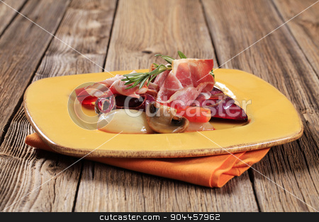 Vegetables and ham stock photo, Accompaniment -Sauteed vegetables and slices of ham by Digifoodstock