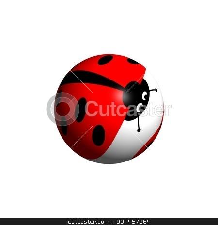 Ladybug Globe stock photo, A ladybug globe looking down on white background. by Henrik Lehnerer
