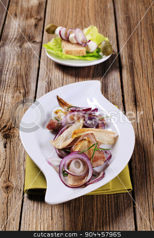Pan fried meat and vegetables stock photo, Pan fried meat with onion and endive leaves by Digifoodstock