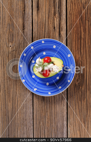 Healthy appetizer stock photo, Avocado, cherry tomatoes and baby mozzarella  by Digifoodstock