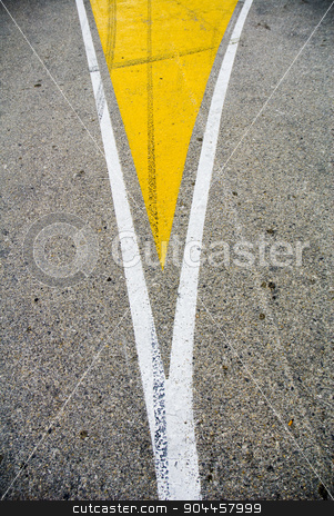 Road split stock photo, Road split sign painted on the road by Digifoodstock