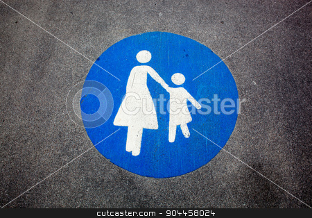 Pedestrian sign stock photo, Pedestrian sign painted on a road by Digifoodstock
