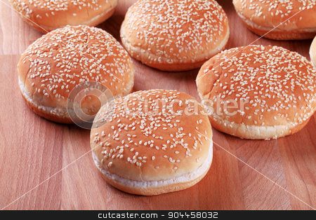 Sesame seed buns  stock photo, Hamburger bunswith sesame seeds on top by Digifoodstock