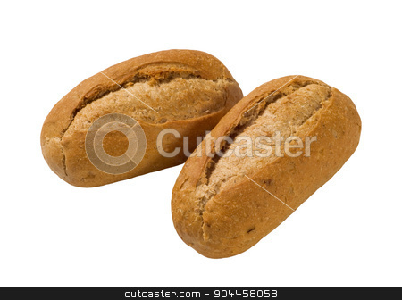 Brown French bread rolls stock photo, Two French bread rolls isolated on white by Digifoodstock