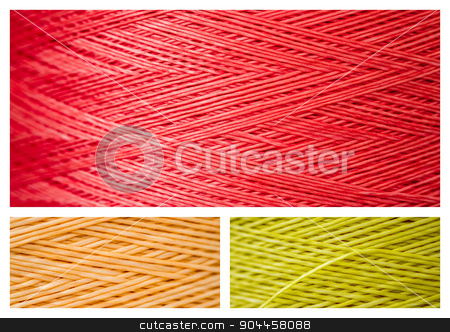 Collage from Close ups of Synthetic Colorful Threads stock photo, Collage from close ups of synthetic colorful threads by OZMedia
