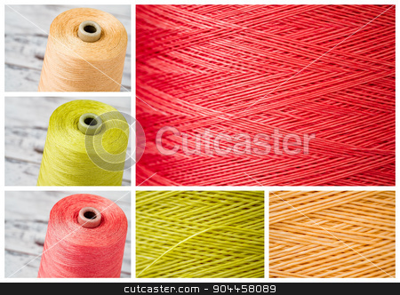 Collage from Spools and Close ups of Synthetic Colorful Threads stock photo, Collage from spools and close ups of synthetic colorful threads by OZMedia