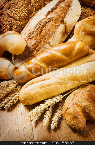 Variety of fresh bread  stock photo, Various types of bread - still life by Digifoodstock