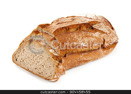 Fresh bread stock photo, Loaf of fresh bread - two slices cut off by Digifoodstock