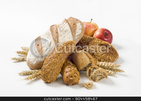 Fresh bread stock photo, Various types of bread and rolls - studio by Digifoodstock