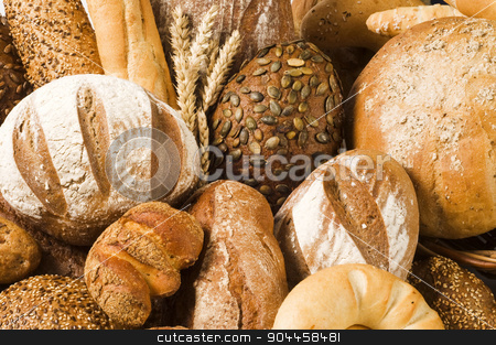 Variety of bread stock photo, Variety of bread - full frame by Digifoodstock