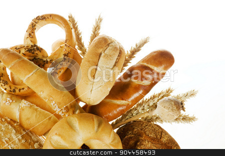 Baked products stock photo, Variety of baked products on white background by Digifoodstock