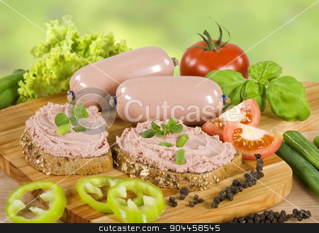 Brown bread and liver pate  stock photo, Slices of brown bread and liver pate    by Digifoodstock