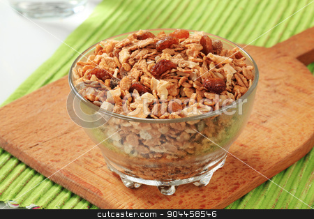 Breakfast cereal stock photo, Bowl of mixed breakfast cereals and dried fruit by Digifoodstock